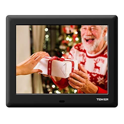TENKER 8-inch HD Digital Photo Frame IPS LCD Screen with Auto-Rotate/Calendar/Clock Function, MP3/Photo/Video Player with Remote Control