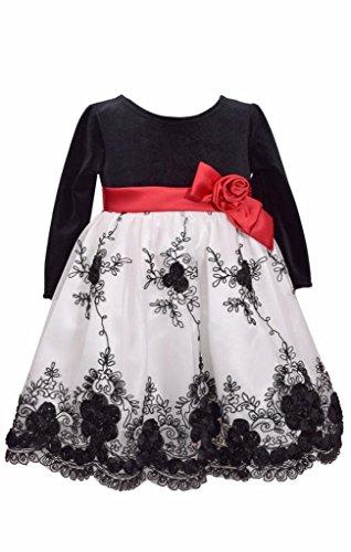 Bonnie Jean Girls Baby Christmas Stretch Velvet with Bonaz Mesh Skirt Dress, Size 10 - Bonnie Jean Velvet Skirt