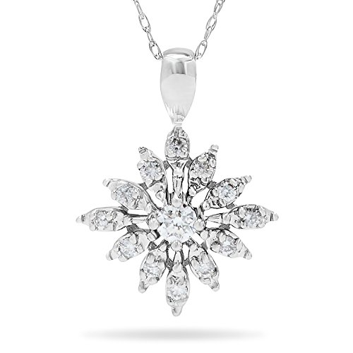 14k White Gold Diamond Snow Flake Pendant Necklace, 18 Inch Chain.45cts