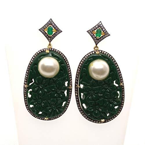 (Green Onyx With White Pearl Dangler Earring, Sterling Silver Handmade Earring)