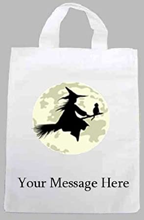 Personalised fabric printed party tote bag halloween witch design