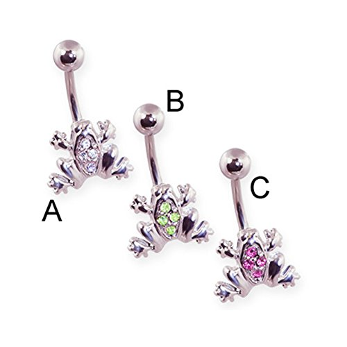 MsPiercing Pave Jeweled Frog Belly Ring, Clear - A