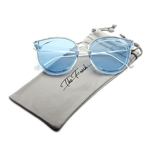 The Fresh Modern Crystal Frame Colored Flat Lens Horn Rimmed Sunglasses with Gift Box (Crystal, - Glasses Lens Colored
