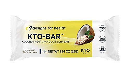 Designs for Health KTO-BAR – High Fat Keto Protein Bar, 2 Net Carbs + 10 Grams Vegetarian Protein, Coconut Chocolate Flavor (12 Bars)
