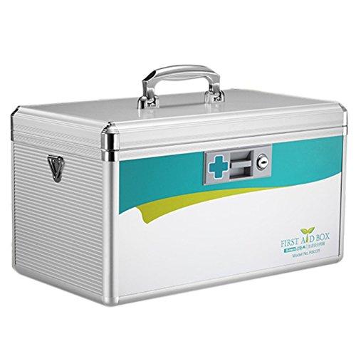 AZDENT Locking Medicine Box Child Proof Medication Box Medicine Cabinet with Lock 7.7 x 7.9 x 12 inches (Silver)