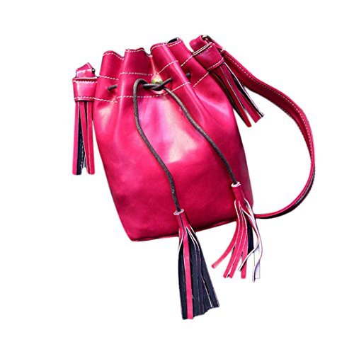 Messenger Womens Drawstring Bag Bag Shoulder Leather Bucket Rose Handbag Voberry FR0wqZxd0