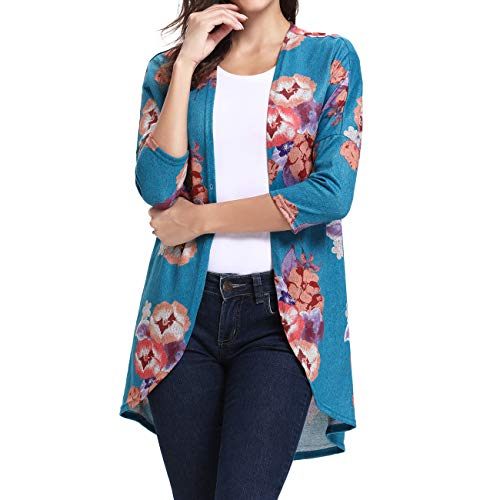 Ladies Vintage Maxi Kimono Coat Boutique Clothing Blue 2XL - Floral Ribbed Cardigan