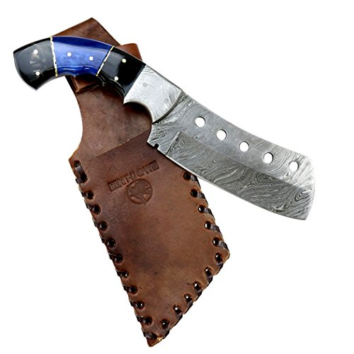 Hunt-Down-95-Damascus-Blade-Black-Blue-Horn-Handle-Hunting-Knife-with-Sheath