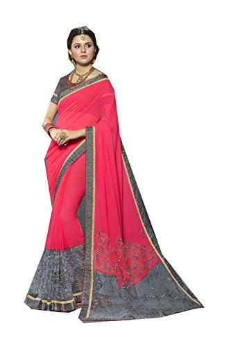 Da Facioun Indian Sarees for Women Wedding Designer Party Wear Traditional Peach & Grey Sari. by Da Facioun