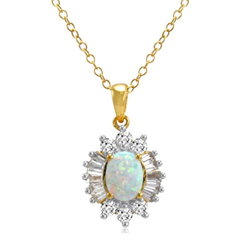 (Yellow Gold Flashed Sterling Silver Created Opal and White Sapphire Pendant-Necklace)