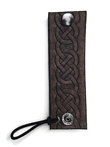Hand-Tooled Celtic Knot Black Leather Hair Tie