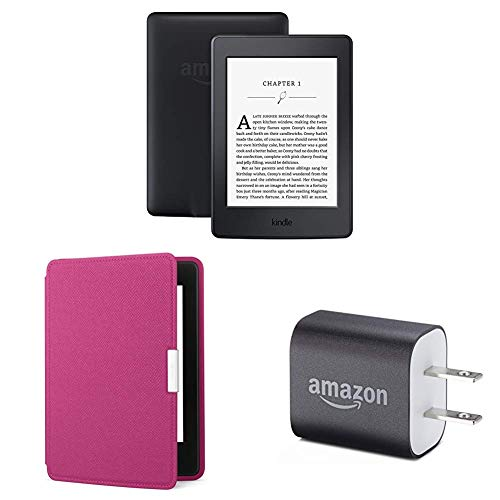 "Kindle Paperwhite Essentials Bundle including Kindle Paperwhite 6"" E-Reader (Previous Generation - 7th), Black , Amazon Leather Cover - Fuchsia, and Power Adapter"