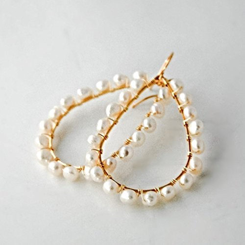 Big Gold Tone Cream Cultured Freshwater Pearl Hoop Earrings.