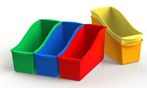 Storex Book Bins, 11-Inch, Assorted Colors, 6 Bins (70110U06C)