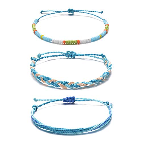 (Tarsus Hand-Knitted Thread Wax Stackable Beaded String Yarn Beachy Bracelets 3 Bracelet Set)