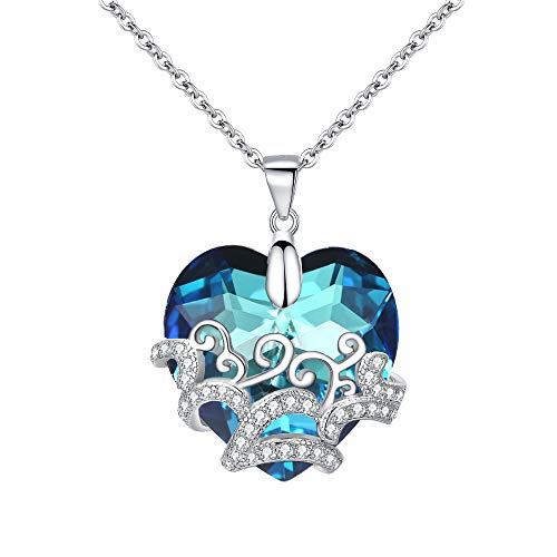 BriLove Women 925 Sterling Silver Heart Pendant Necklace, Swarovski Crystal CZ Filigree Heart of Ocean Necklace Bermuda Blue