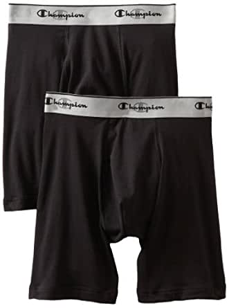 Champion Men's 2-Pack Performance Stretch Long Boxer Brief, Black, Small
