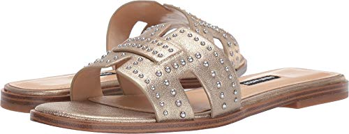 Nine West Women's Genesia Studded Slide Sandal Gold 11 M US