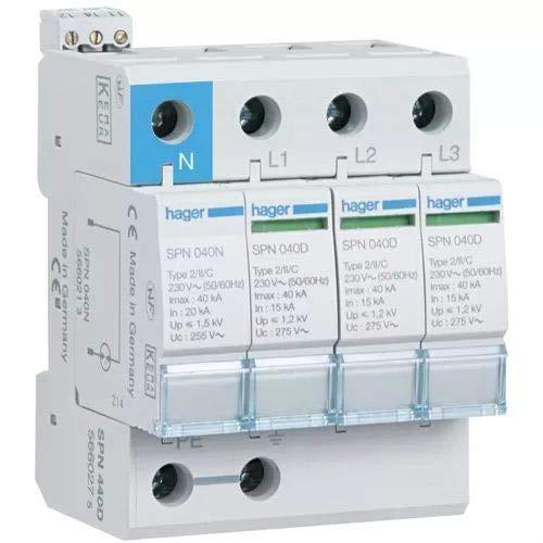 Hager SPN440D - Limitador sobretensión 3 polos+neutro 40ka ...