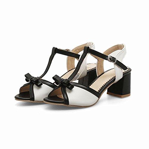 Voet Dames Charms Bow T-strap Sandalen Met Dikke Hak Zwart