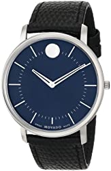Movado Men's 0606846 Movado TC Swiss Quartz Watch With Textured Black-Leather Strap