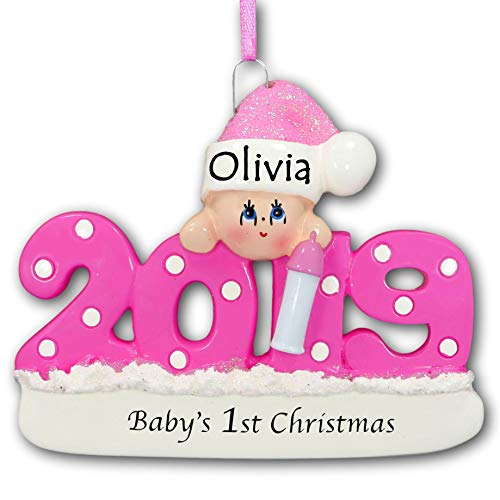 Rudolph and Me 2018 Baby's First 1st Christmas Tree Ornament Gift in Pink for Baby Girl with Free Name Personalization (Pink)