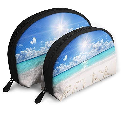 - Sunset Beach Paradise Blue Shell Portable Bags Clutch Pouch Cosmetic Makeup Bag Pouch 2Pcs