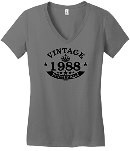 30th Birthday Gift Vintage 1988 Perfect Aged Crown Juniors Vneck
