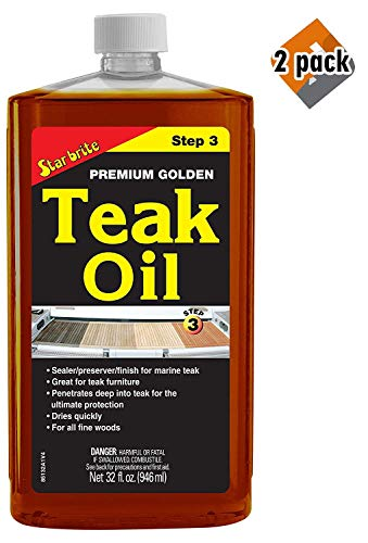 Star Brite Premium Golden Teak Oil - Sealer, Preserver, Finish for Outdoor Teak & Other Fine Woods, 2 Pack (Star Oil Teak Premium Golden Brite)