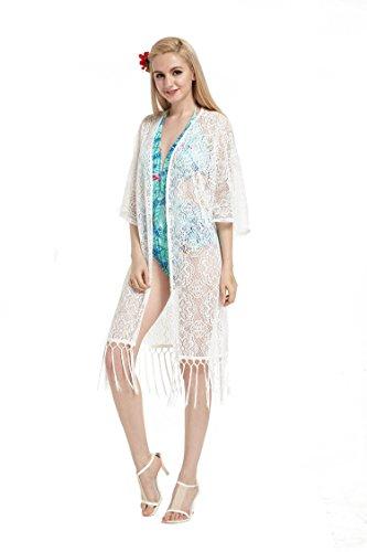 Hawaii Hangover Crochet Beach Long Lace cubrir el vestido con borla en blanco