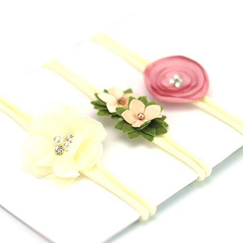 Baby Girl Nylon Headband/Floral Hair Band -Gentle Elastic Design Set of 3 (Mean Girl Christmas Costumes)
