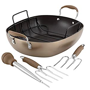 Anolon Advanced Hard Anodized Nonstick Roaster / Roasting Pan Set with Utensils – 16 Inch x 13 Inch, Brown