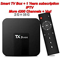 1 Years Iptv with TX3 Mini Android 7.1 Smart TV Box Amlogic S905W Quad Core 2G/16G Support 2.4GHz 64bits WiFi 4K HD Set Top Box with Remote Control with 1 Years Iptv More 7200 Channel andVod