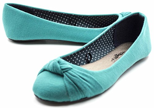 Charles Albert Front Toe Ballet Flats Canvas Knotted Turquoise Women's Round ppxArPwgq
