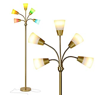 Brightech Medusa Modern LED Floor Lamp – Contemporary Multi Head Standing Reading Lamp for Living Room, Bedroom, Kids Room - Includes 5 LED Bulbs and 5 White & Colored Interchangeable Shades – Brass