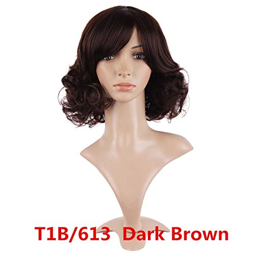 Medium Curly Black Light Dark Brown Synthetic Women Hair Cosplay Nautral Wigs 40Cm Heat Resistant ()