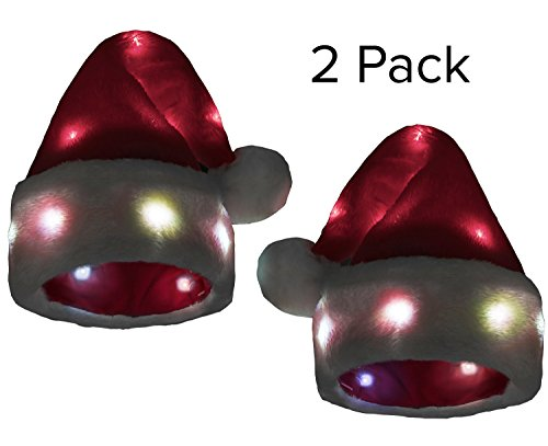Funny Santa Hat [2 Pack] with 20 Blinking Color-changing Light up LED Lights - Soft Plush Faux Fur for Adults and (Funny Santa Costumes)