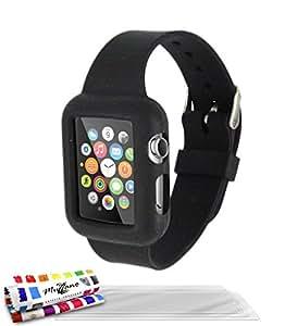Muzzano F2373344 - Funda para Apple Watch de 38 mm + 3 protecciones de pantalla, color negro