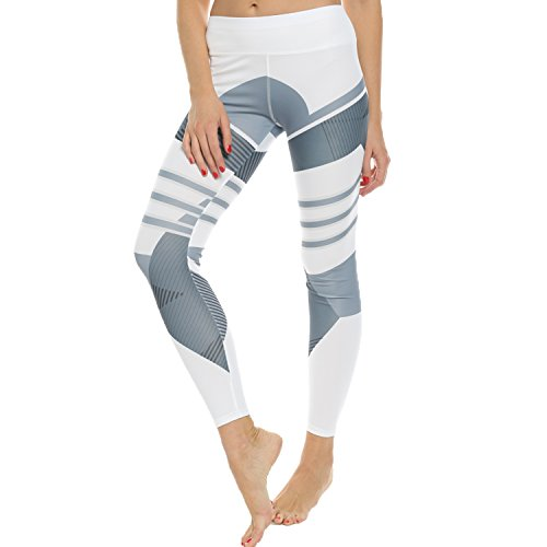 9c82c7d7df7d76 FITTOO Women's High Waisted Geometric Yoga Pants Geometry Print Leggings  Workout Sports Trousers at Amazon Women's Clothing store: