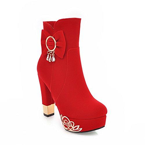 KHSKX-Herbst Und Winter Boots Weibliche Roten Hochzeit Die Braut Schuhe Mit Dicken Hochhackige Stiefel Weibliche Hochzeit Schuhe Wasserdicht Stiefel Weibliche Schuhe Martin gules