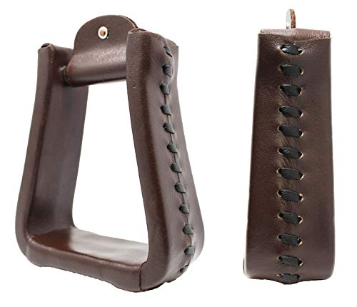 CHALLENGER Horse Saddle Western Tack Trail Brown Leather Covered Bell Riding Stirrups 51176BR