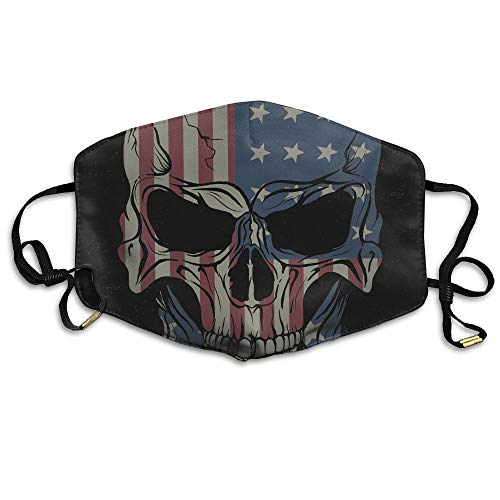 Zhenyun Angry Skull American Flags Anti Dust Face Mask,Reusable Warm Windproof Mouth Mask