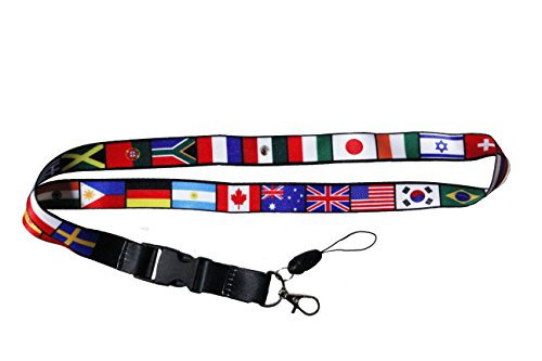 INTERNATIONAL Country Flag Lanyard Keychain Passholder .... 20 Inches Long ... New