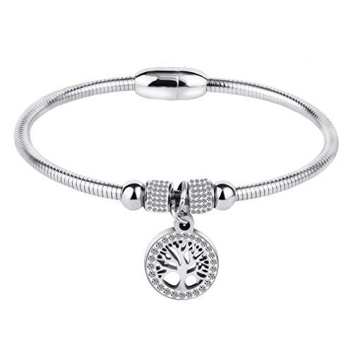 LUBINGSHINE Family Tree of Life Charm Bracelets Stainless Steel Magnetic Closure Snake Chain Bangle for Women Men (Silver)