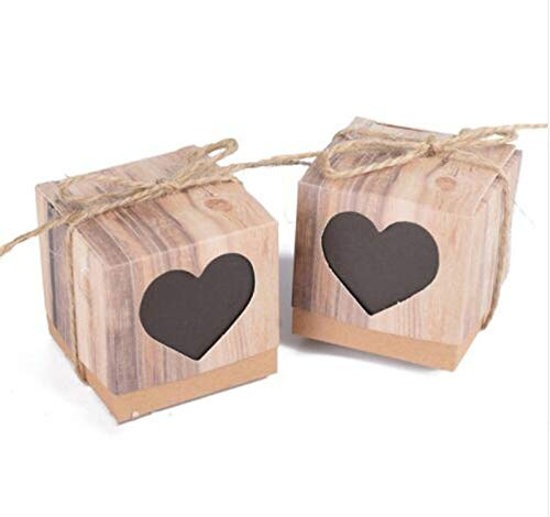 pursuit-of-self 50Pcs Sweet Lovely Decoration Candy Box Paper Boxes Gift Box Rustic & Lace Kraft Favor Box with Ribbon Wedding and Party,Heart 2,5X5X5Cm
