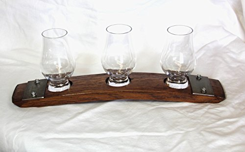 Premium Barrel Stave Whiskey Flight, Scotch Flight, Bourbon Flight, Crystal Glencairn Glass Flight (Red Mahogany) by Barrel-Art (Image #2)
