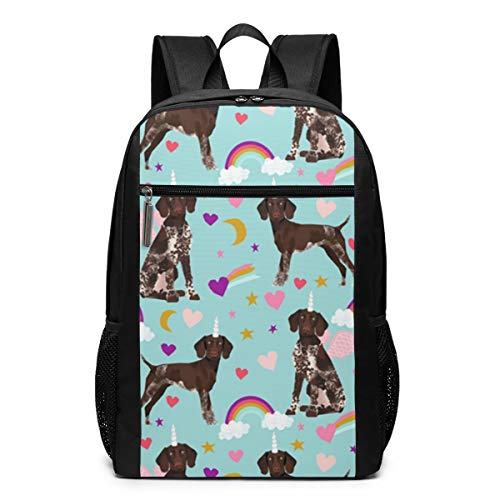 German Shorthaired Pointer Fabric Rainbows Unicorns Fashion Student School Outdoor Backpack 17in Teens Bookbags Schoolbags Travel Laptop College Business Daypack For Men & Women,Black Backpack ()