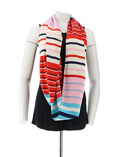Liz Claiborne NY Multistripe Infinity Scarf Hot Red NEW A251213