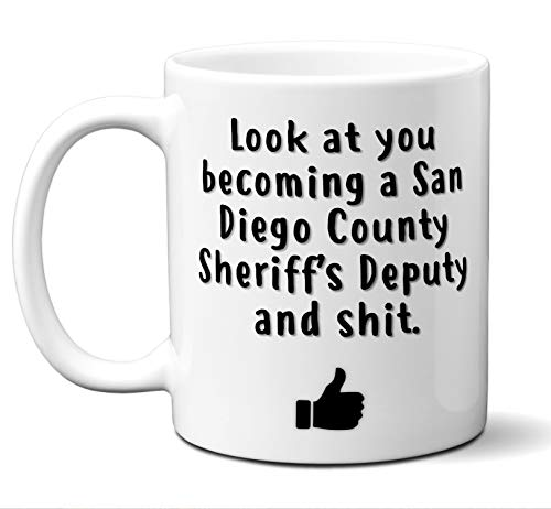 San Diego County Sheriff Graduation Gifts. New Rookie Police Academy Officer Graduates Mug. Coffee Cup Men Women Him Her School Graduating Students Class 2019 Card Funny Grad Congratulations. (Police White County)