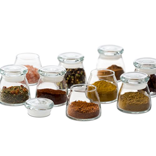 Libbey Vibe Mini Glass Jar Set with Lids, 12-4.5 ounce Glass Spice Jars, Lead-Free, 12-piece